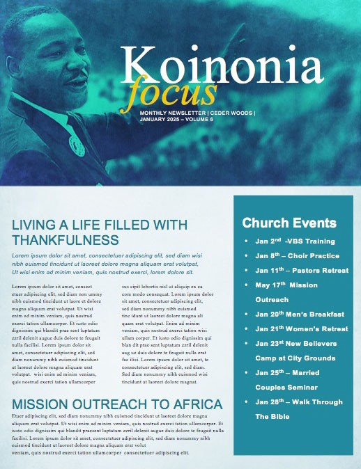 Martin Luther King Jr Day Service Newsletter