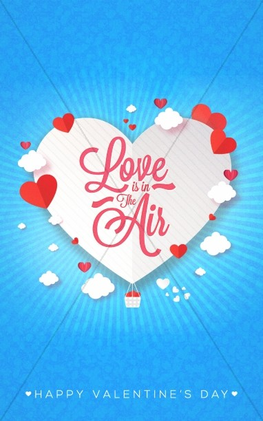 Love Is In The Air Valentine's Day Bulletin Cover
