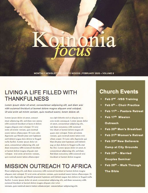 Marriage Restoration Church Newsletter