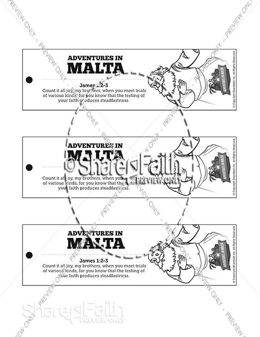 Acts 28 Adventures in Malta Bible Bookmarks