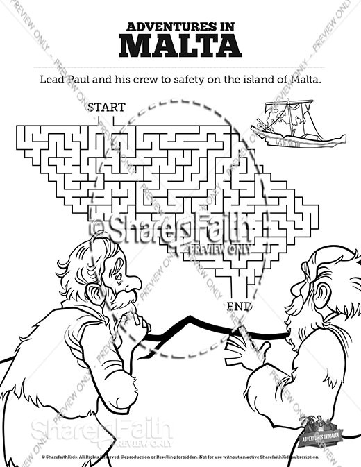 Acts 28 Adventures in Malta Bible Mazes
