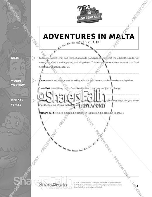 Acts 28 Adventures in Malta Curriculum