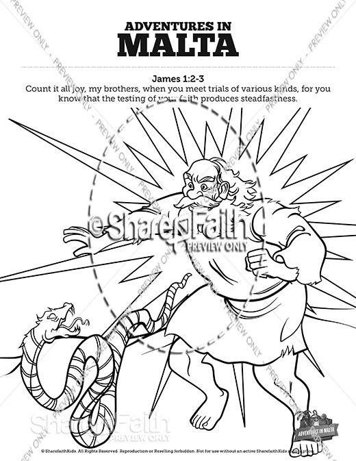 Acts 28 Adventures in Malta Sunday School Coloring Pages
