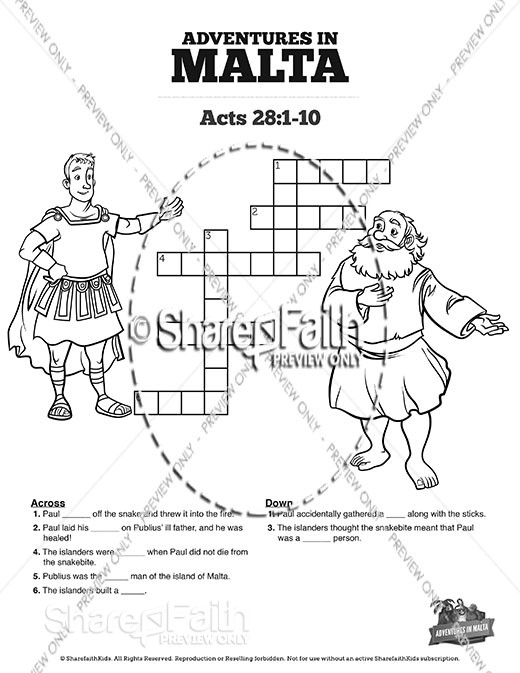 Acts 28 Adventures in Malta Sunday School Crossword Puzzles