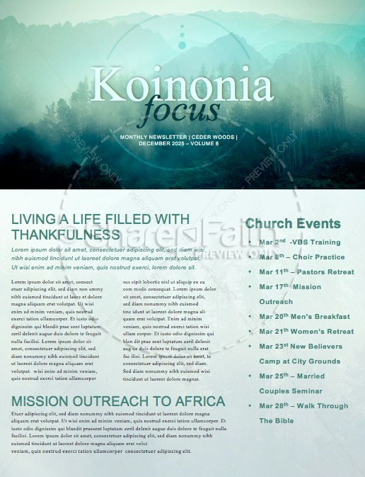 Prayer Service Church Newsletter