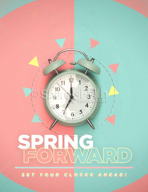 Spring Forward Alarm Clock Flyer Template