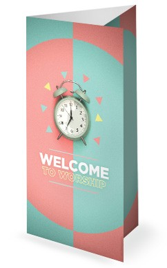Spring Forward Alarm Clock Trifold Bulletin Cover
