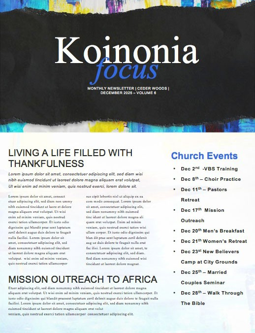 Anxiety Church Newsletter Template
