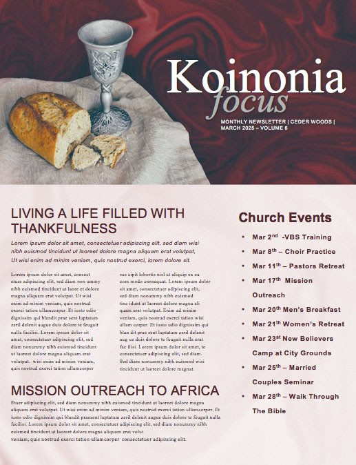 Communion Sunday Newsletter Template