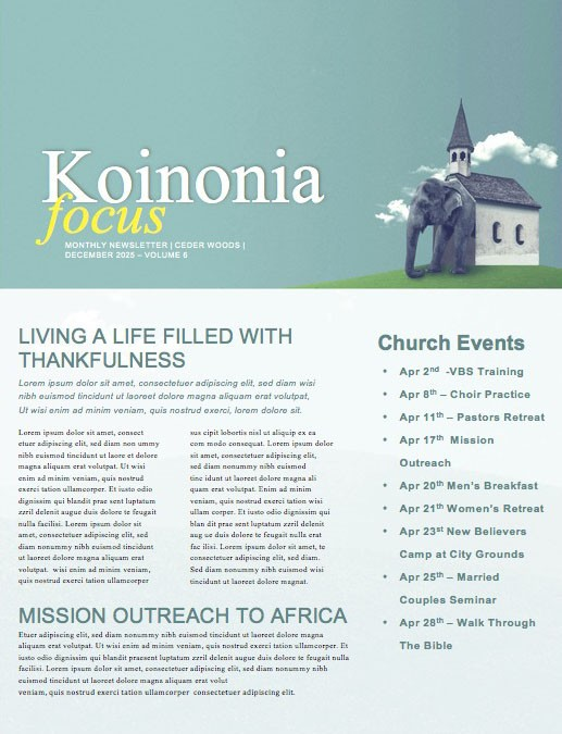 The Elephant In The Church Newsletter