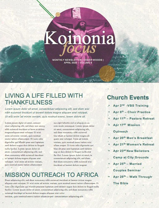 Good Friday Church Service Newsletter
