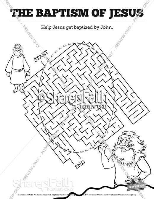 Matthew 3 The Baptism of Jesus Bible Mazes