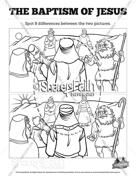 Matthew 3 The Baptism of Jesus Spot the Differences