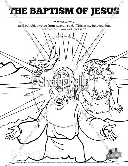 Matthew 3 The Baptism of Jesus Sunday School Coloring Pages