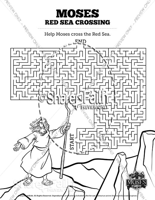 Exodus 12 Moses and The Red Sea Crossing Sunday School Lesson For Kids Mazes