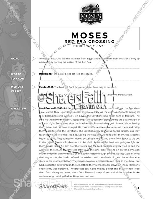 Exodus 12 Moses and The Red Sea Crossing Curriculum