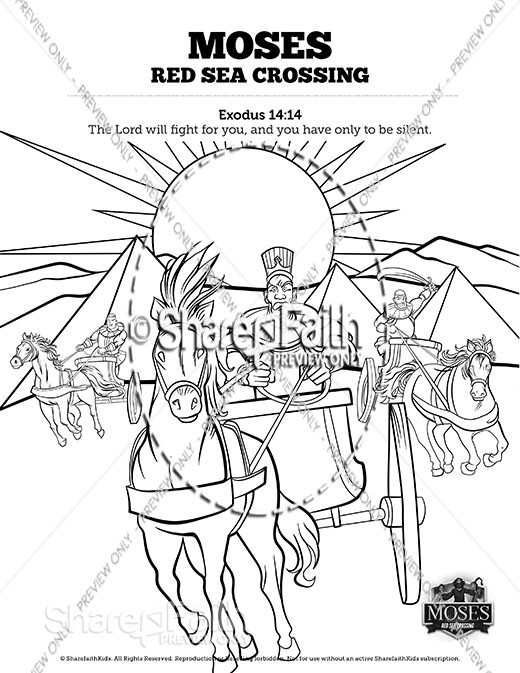 Exodus 12 Moses and The Red Sea Crossing Sunday School Coloring Pages