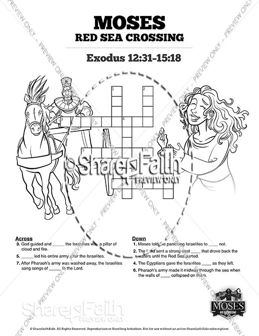 Exodus 12 Moses and The Red Sea Crossing Sunday School Crossword Puzzles