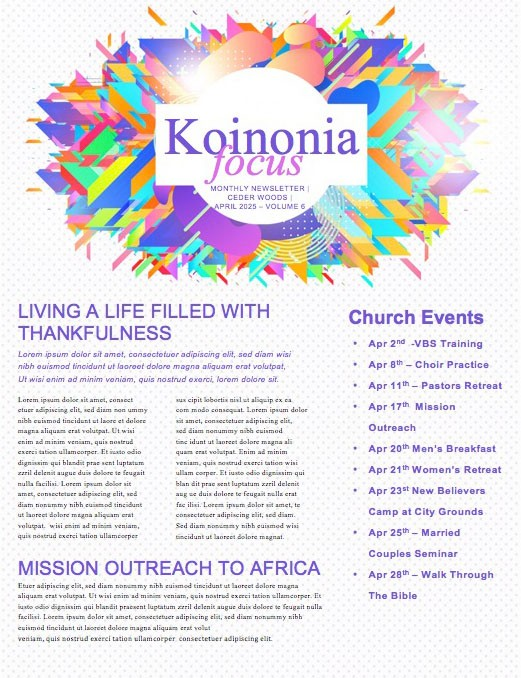 Church Easter Service Newsletter