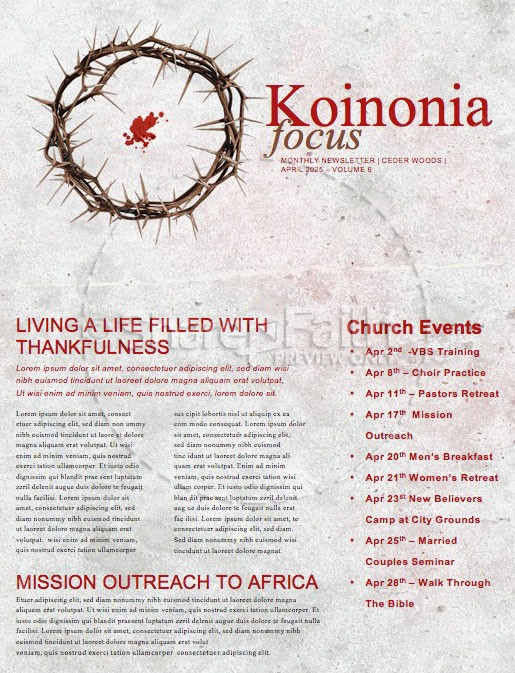 Crown of Thorns Good Friday Church Newsletter | page 1