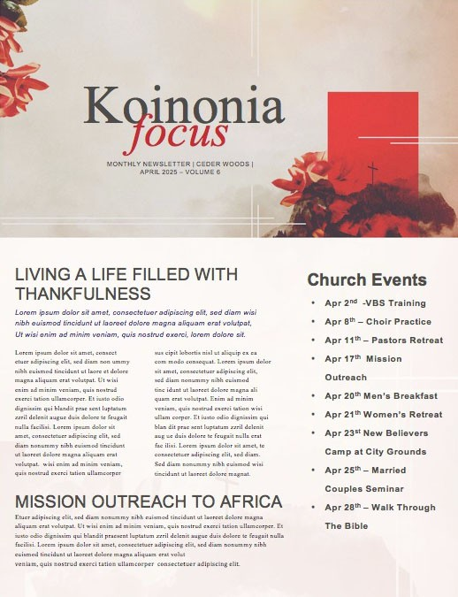 At The Cross Church Newsletter