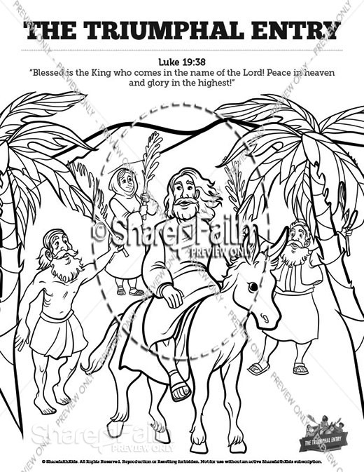Luke 19 The Triumphal Entry Sunday School Coloring Pages