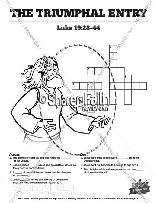 Luke 19 The Triumphal Entry Sunday School Crossword Puzzles