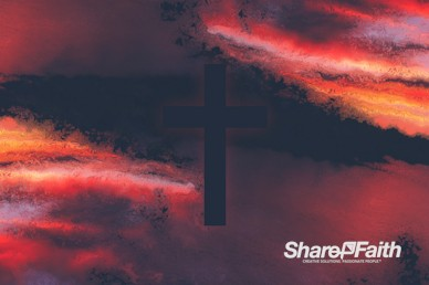 Sunset Cross Colorful Texture Worship Motion Background