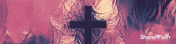 Metallic Cross Colorful Texture Triple Wide Worship Video