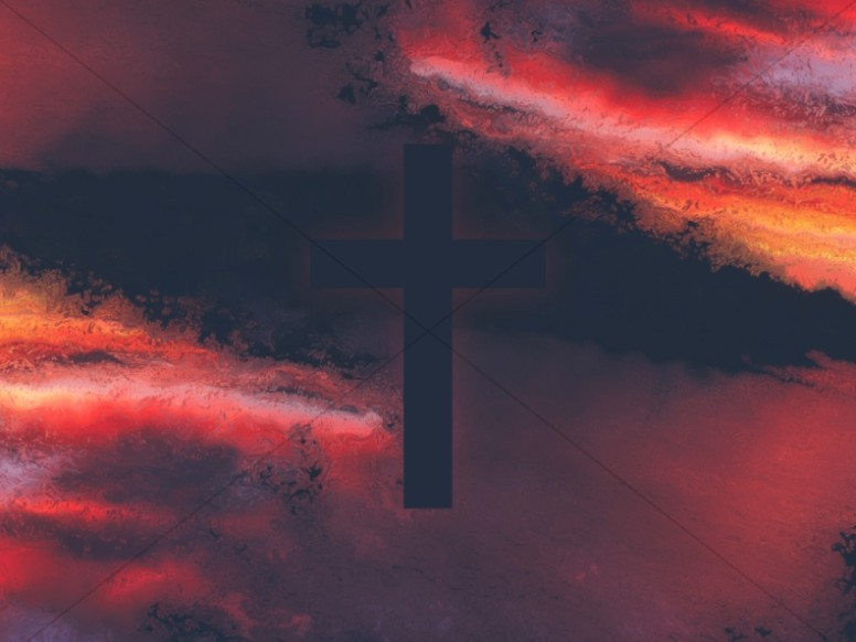 Sunset Cross Colorful Texture Worship Background