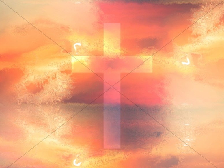 Sunrise Cross Colorful Texture Worship Background