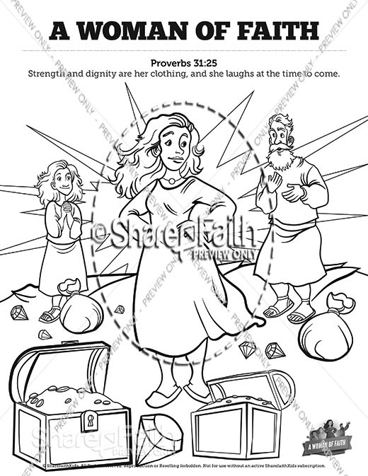 Proverbs 31 A Woman of Faith Sunday School Coloring Pages