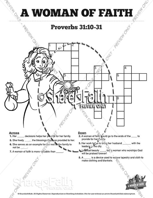 Proverbs 31 A Woman of Faith Sunday School Crossword Puzzles