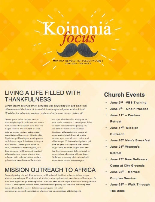 Father's Day Mustache Church Newsletter