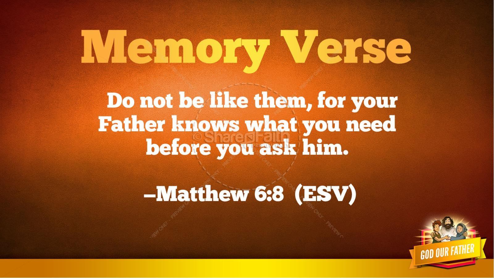 Matthew 6 God our Father Kids Bible Story | Kids Bible Stories