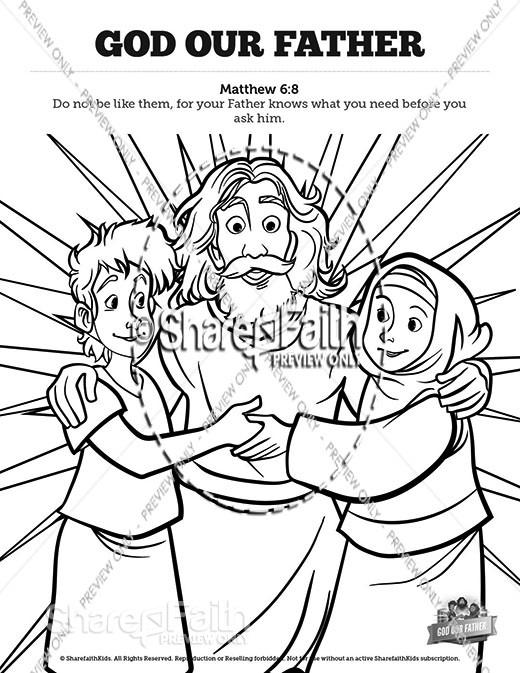 Matthew 6 God our Father Sunday School Coloring Pages