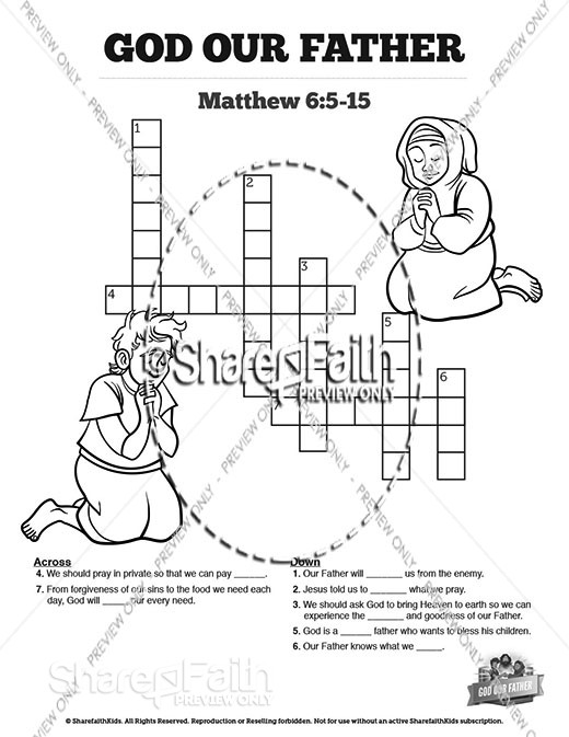 Matthew 6 God our Father Sunday School Crossword Puzzles