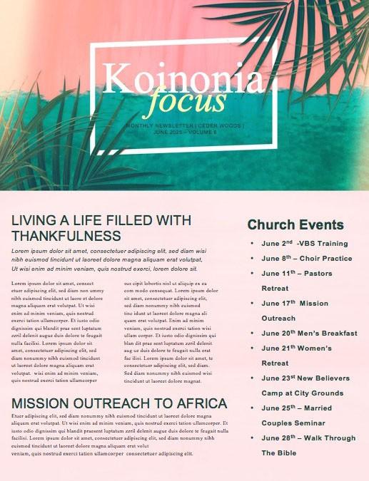 Best Summer Ever Church Newsletter