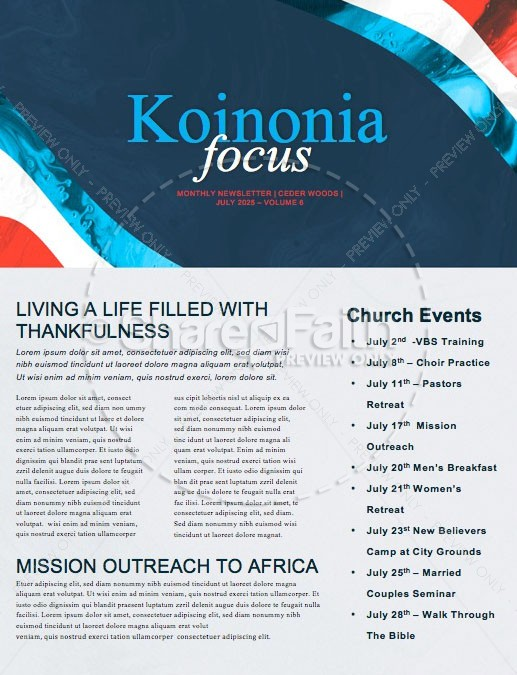 Independence Day Freedom Church Newsletter | page 1