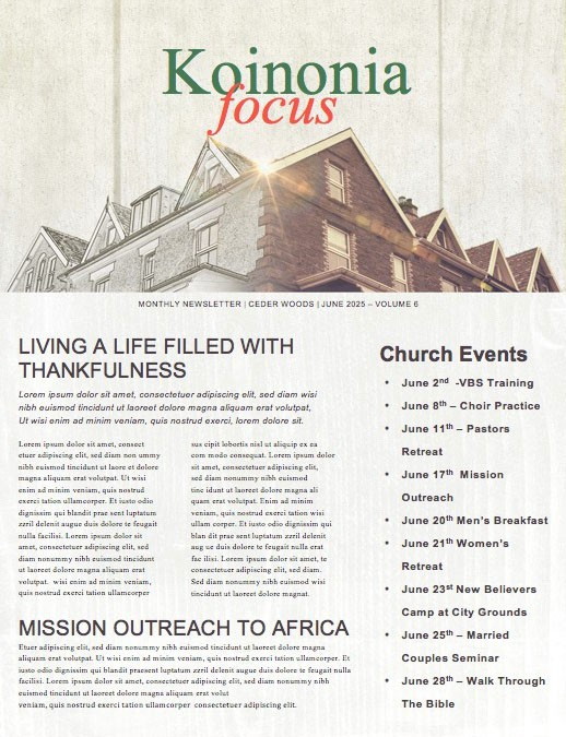 Fix It Church Newsletter Template