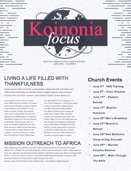 Missions Sunday Church Service Newsletter