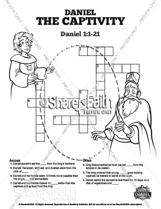 Daniel 1 The Captivity Sunday School Crossword Puzzles
