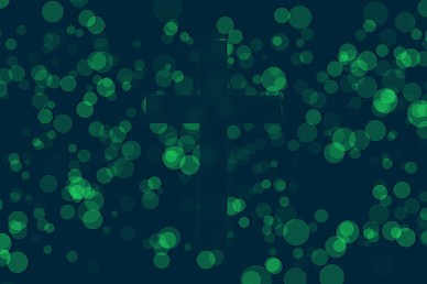 Worship Particles Green Cross Motion Background