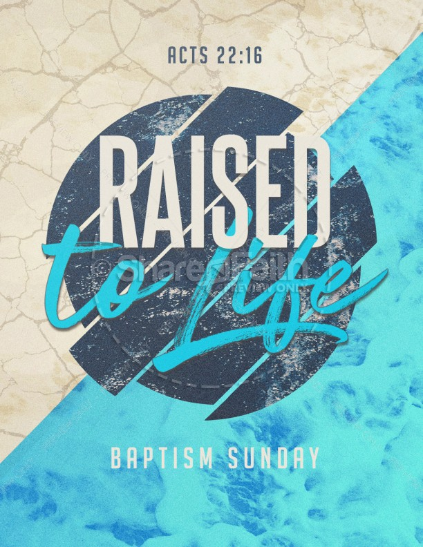 Raised To Life Baptism Church Flyer