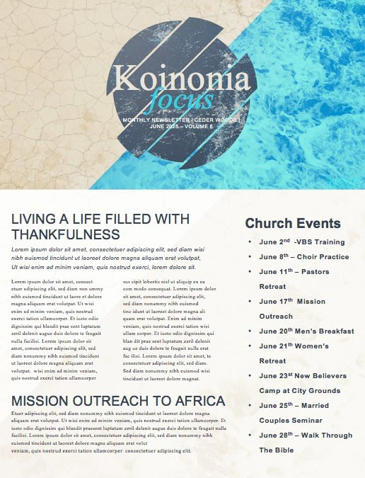 Raised To Life Baptism Church Newsletter