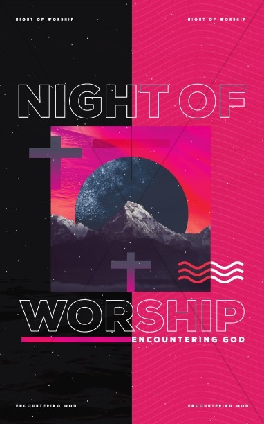 Night of Worship Church Event Bulletin