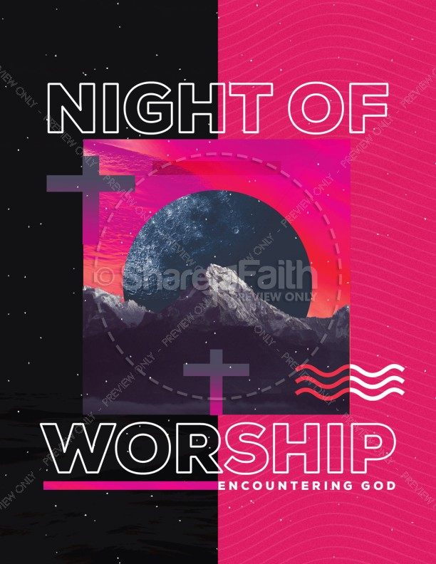 Night of Worship Church Event Flyer