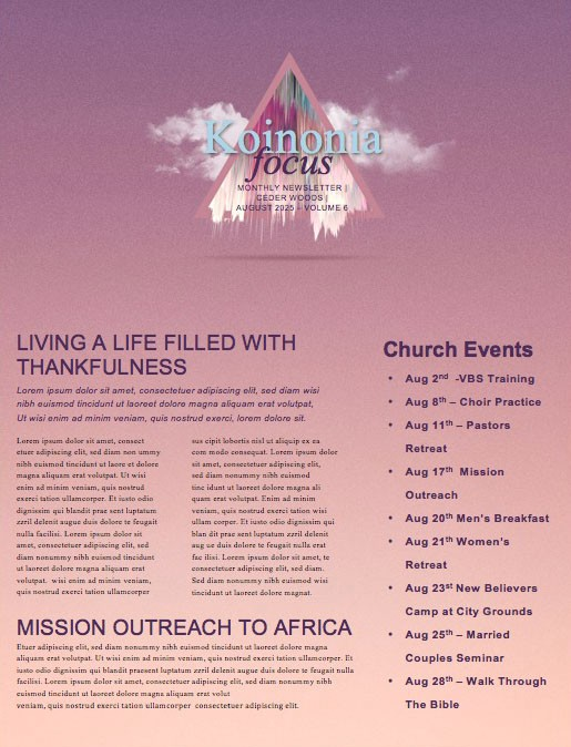 Expect More Church Sermon Newsletter