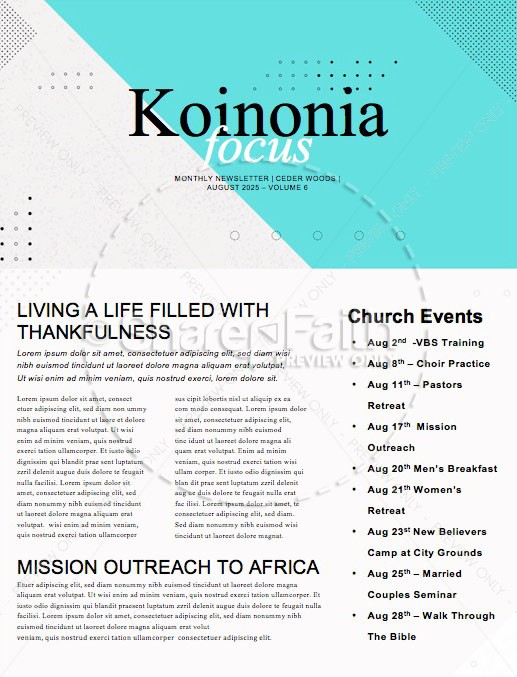 History Makers Church Sermon Newsletter