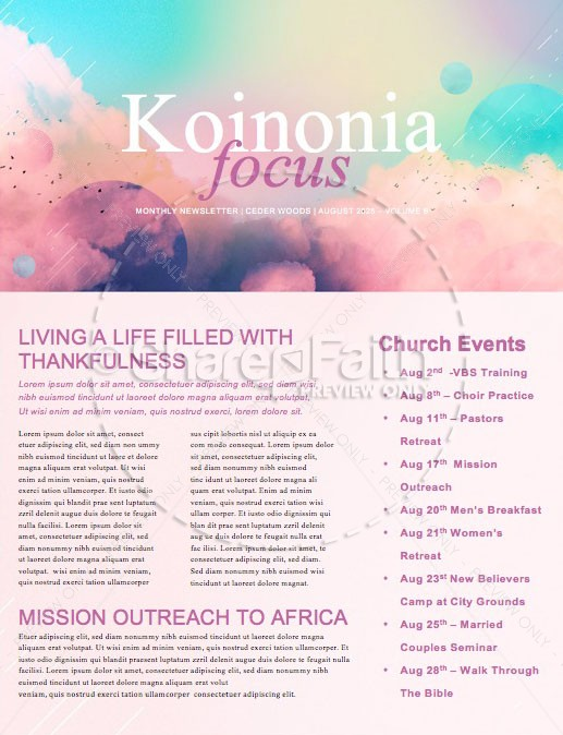 Vision Sunday Bright and Colorful Church Service Newsletter